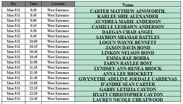 May 11th West Schedule