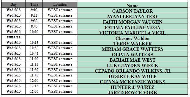 May 13th West Schedule